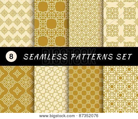 Seamless patterns set. Geometric textures