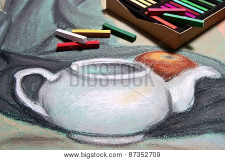 Artist's Pastels And Original Pastel Drawing Of Still Life.