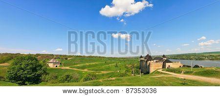 Panorama Of Khotyn Fortress On Dniester Riverside. Ukraine