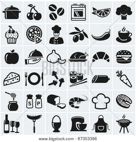 Food And Cooking Icons. Vector Set.