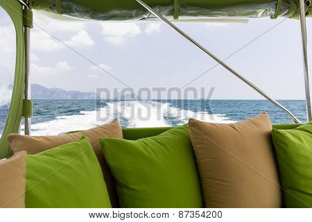 sailing, leisure, travel and tourism concept - ocean view from board of sailing boat or yacht