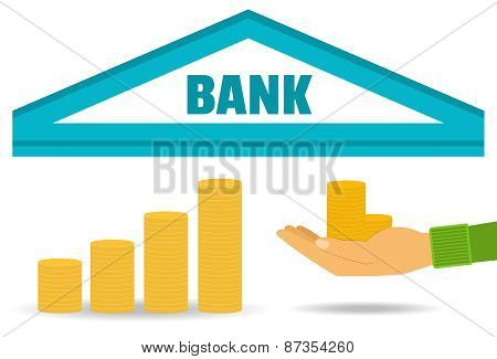 Business Concept. Bank Deposit, The Accumulation Of Money. Vector. Flat Style.