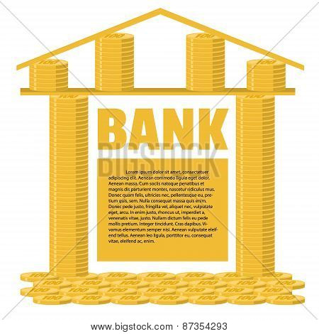 Bank Building Made Of Gold Coins. Business Concept. Place For Your Text.