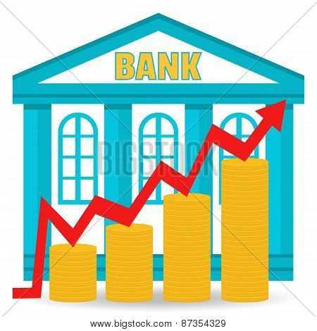 Business Concept. Bank Deposit Growth Chart. Income. The Building Of The Bank And Coins In Stacks. F
