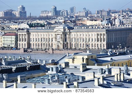 ST. PETERSBURG, RUSSIA - MARCH 5, 2015: Historic building of the Russian Academy of Arts. Built in 1789, now the building houses the Ilya Repin Institute for Painting, Sculpture and Architecture