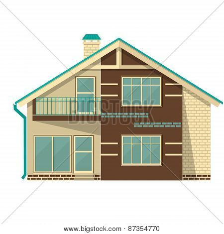 Object Isolated Cottage. Flat Design.