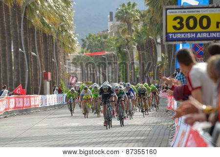 MARMARIS, TURKEY - APRIL 30, 2014: Riders on the finish of 4th stage of 50th Presidential Cycling Tour of Turkey. The first is Mark Cavendish from OPQ team