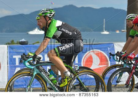 MARMARIS, TURKEY - APRIL 30, 2014: Robert Wagner from the team Belkin and other riders on the finish of 4th stage of 50th Presidential Cycling Tour of Turkey