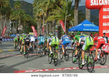 MARMARIS, TURKEY - APRIL 30, 2014: Riders on the finish of 4th stage of 50th Presidential Cycling Tour of Turkey. It is the only intercontinental cycling stage race from Europe to Asia