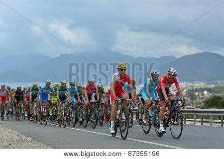 MARMARIS, TURKEY - MAY 1, 2014: Riders on the first climb of 5th stage of 50th Presidential Cycling Tour of Turkey. It is the only intercontinental cycling stage race from Europe to Asia