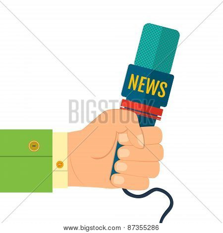 Illustration Of A Flat Icon Hand Holding A Microphone, Reporter Of News Interviews, Press Conference