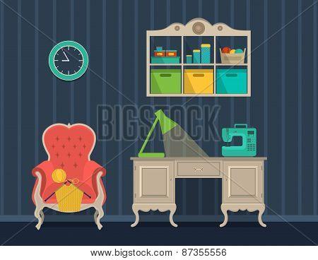 Interior Rooms For Crafts. Flat Design.