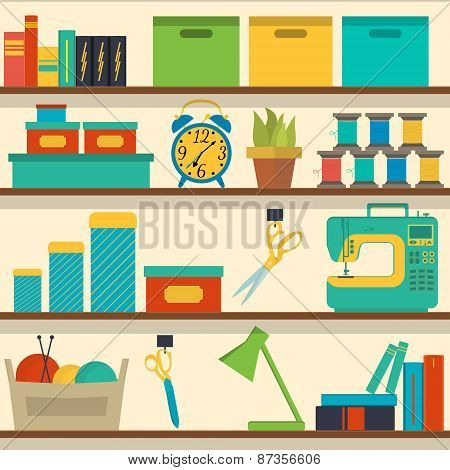 seamless pattern shelf with tools for sewing and knitting, craft tools