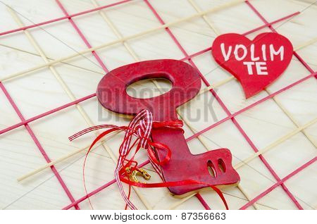 Red Wooden Vintage Key On Wooden Surface