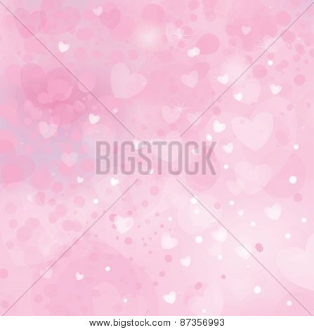 Vector pink background with hearts.
