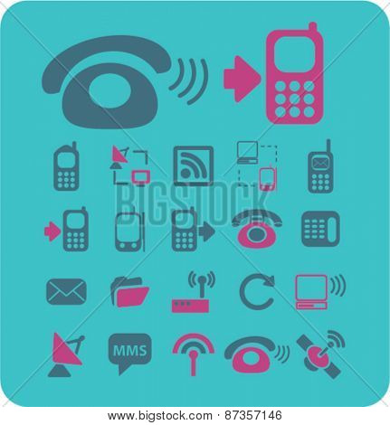 communication, phone icons set, vector
