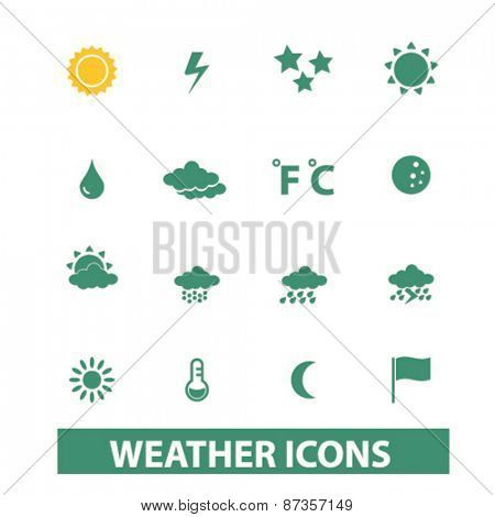 weather icons, signs, illustrations concept design set, vector