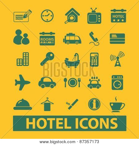 hotel, motel, room services isolated web icons, signs, illustrations concept design set, vector