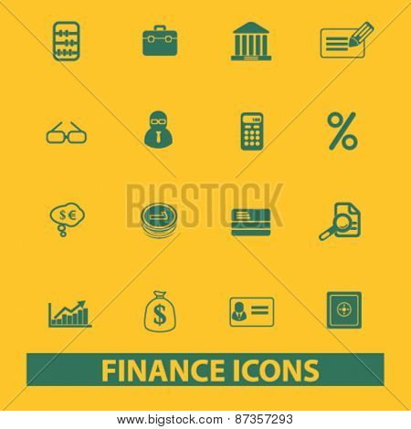 finance, bank isolated web icons, signs, illustrations concept design set, vector