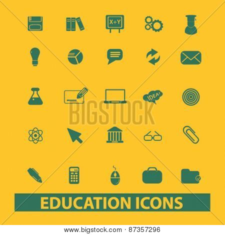 education, learning isolated web icons, signs, illustrations concept design set, vector