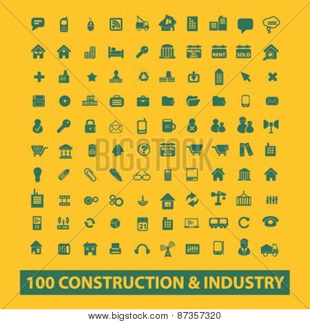 100 construction, industry, factory isolated web icons, signs, illustrations concept design set, vector