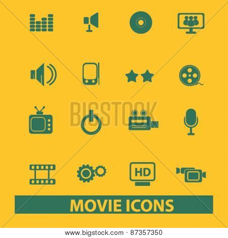 movie, cinema isolated web icons, signs, illustrations concept design set, vector