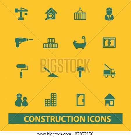 construction, engineering isolated web icons, signs, illustrations concept design set, vector