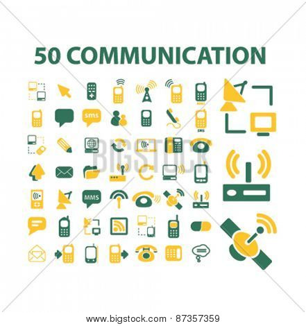 50 communication, connection, technology isolated web icons, signs, illustrations concept design set, vector