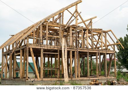 Wooden Framing Of The New House