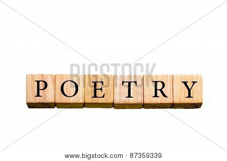 Word Poetry Isolated On White Background With Copy Space