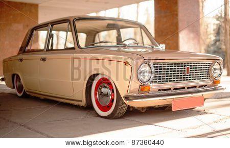 Beige Old Russian Restored Car