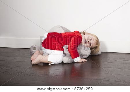 Baby Santa Claus Embraced Plush Doll