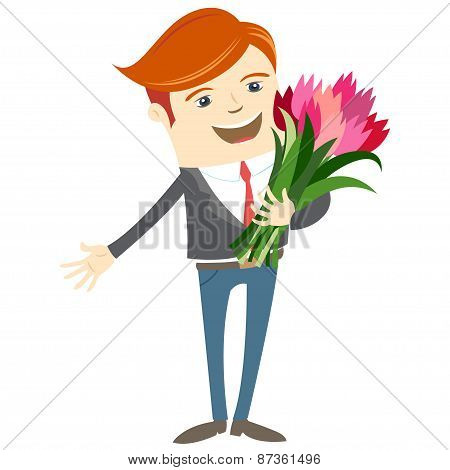 Hipster funny man holding flowers. Flat style