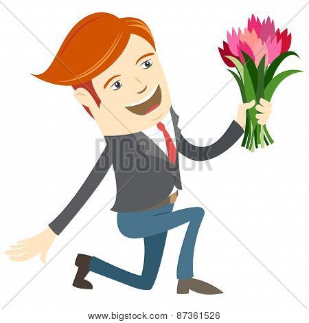 Hipster funny man kneeling holding flowers. Flat style