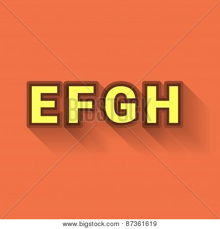 E F G H - Colorful Outlined Alphabet With Long Shadow