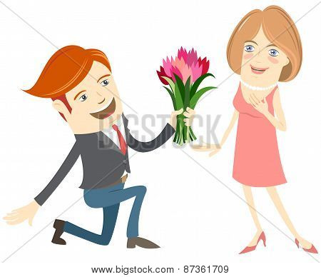 Hipster funny man kneeling giving flowers to the smiling woman.
