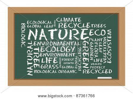 Nature Word Cloud On Chalkboard