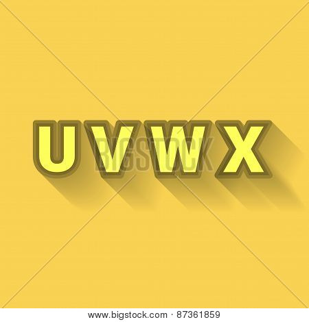 U V W X - Colorful Outlined Alphabet With Long Shadow