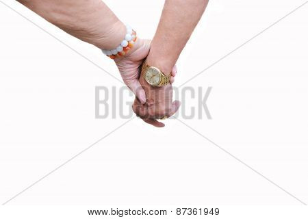 Elderly people holdind hand together in white background