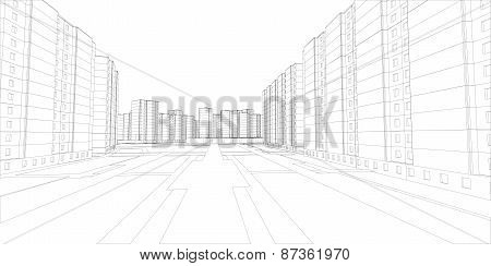 Wire-frame buildings and street. Vector