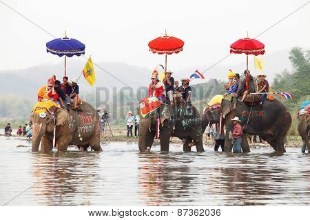 SUKHOTHAI - APRIL 7 : Sukhothai ordination parade on elephant back festival at Hadsiao Temple