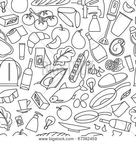 Supermarket goods pattern.