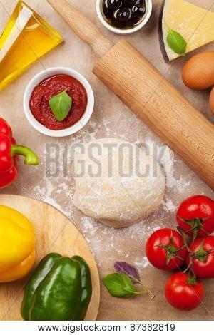 Pizza cooking ingredients. Top view
