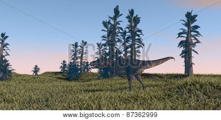 tarbosaurus walking in tempskya grove