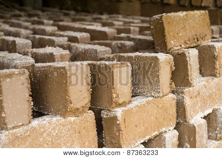 Raw Bricks Drying In The Open Air