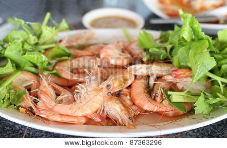 Stream Prawn Seafood With Spicy Sauce