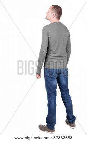 Back view of young man in t-shirt and jeans  looking.   Standing young guy. Rear view people collection.  backside view of person.  Isolated over white background.