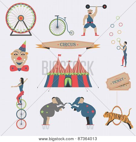 Set of Circus Flat Icons.