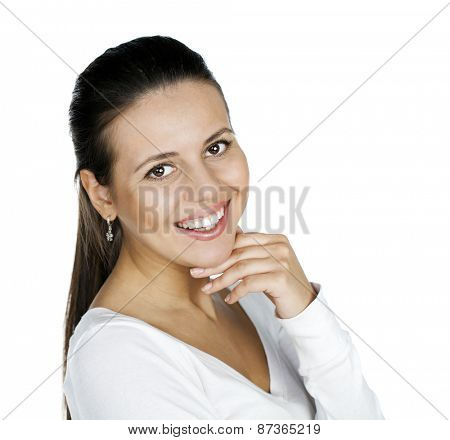 Portrait of a beautiful young happy woman, isolated on white background