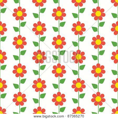 Floral seamless pattern with red chamomiles